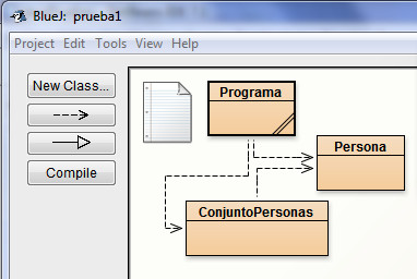 diagrama de clases java en BlueJ